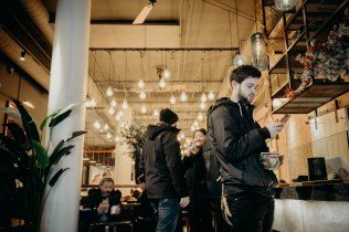 stranger waiting for his coffee at union fare